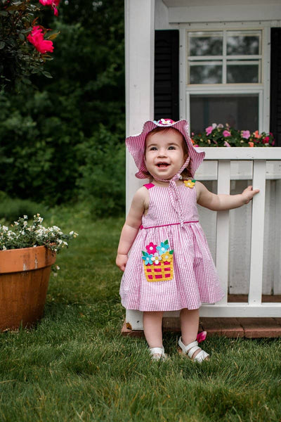 Seersucker Dress and Bloomer with Flower Basket Pocket
