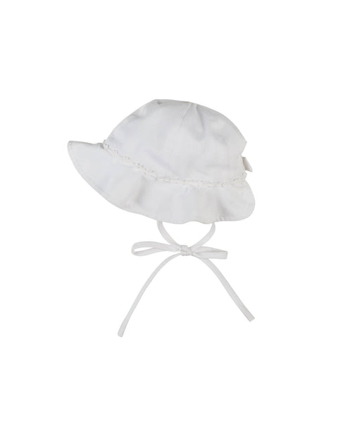White Finewale Pique Girls Hat