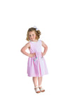 Light Pink Raised Stripe Dress with Appliqued Flowers - Florence Eiseman