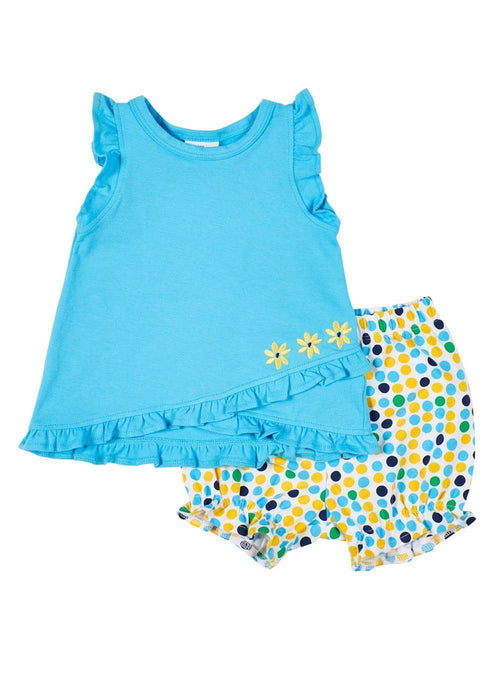 Blue Ruffle Top With Multi Dot Bloomer - Florence Eiseman