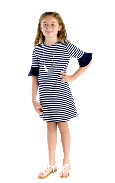 Stripe Knit Dress with Ruffle Sleeves - Florence Eiseman