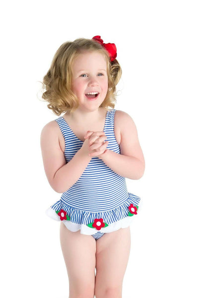 Blue Stripe Seersucker Swimsuit with Appliqued Flowers