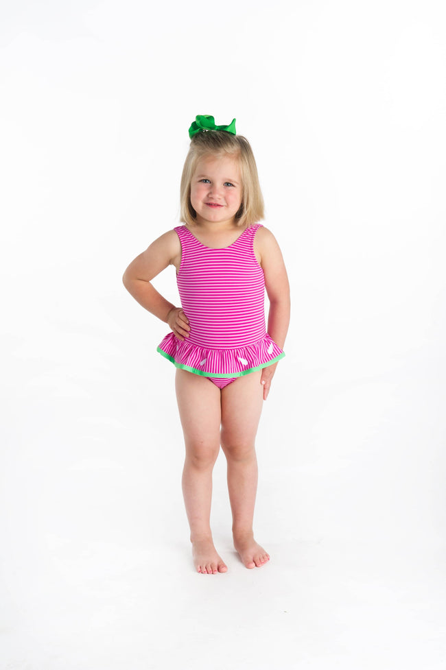 Two Tone Pink Stripe Swimsuit