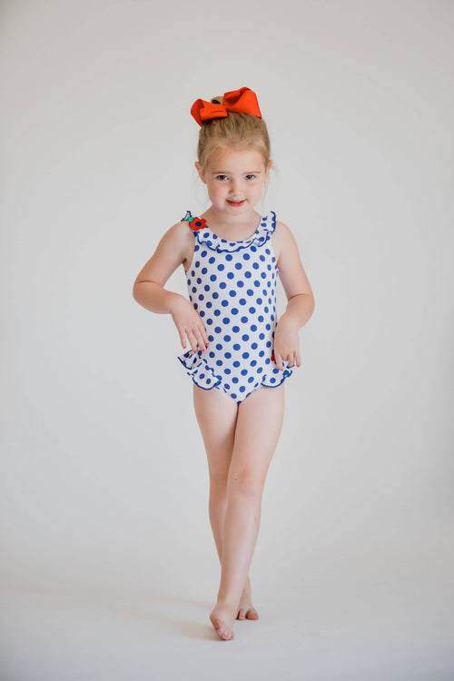 Polka Dot Swimsuit with Flowers - Florence Eiseman