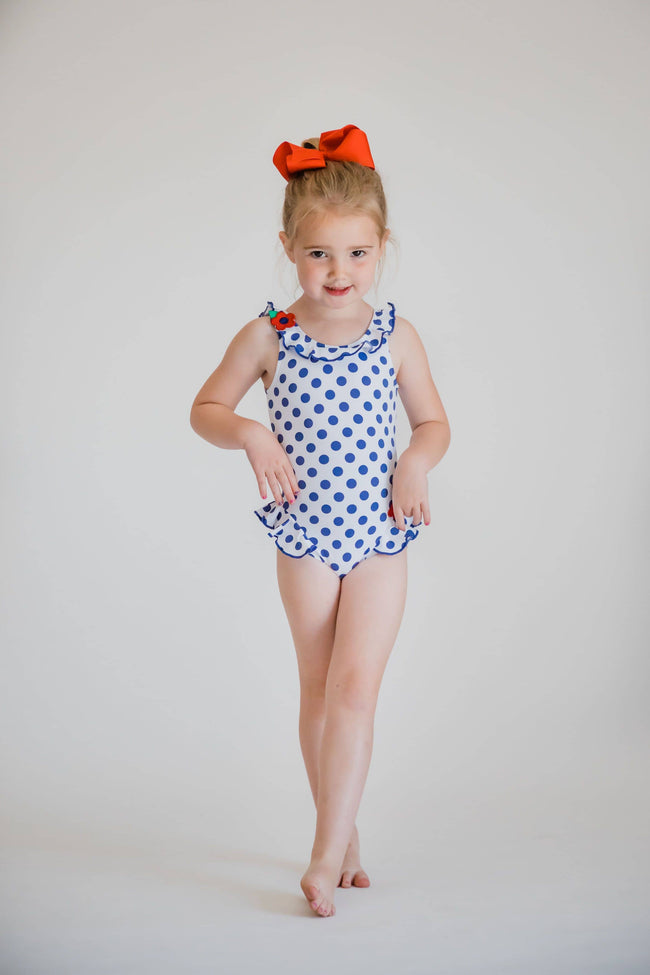 Polka Dot Swimsuit with Flowers