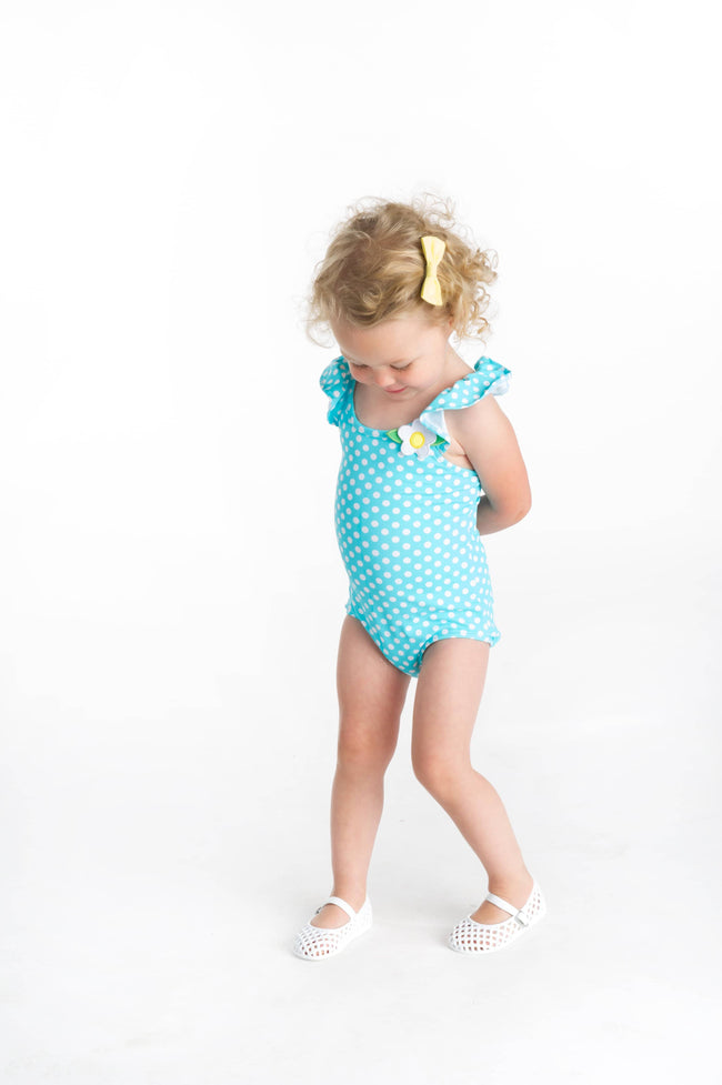 Aqua Dot Swimsuit with Shoulder Ruffles