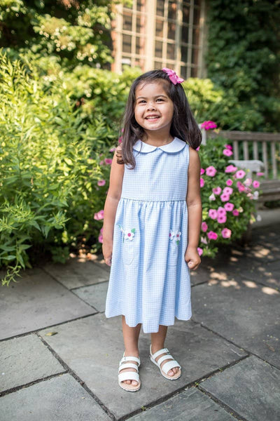 Light Blue and White Check Pique Dress with Appliqued Flowers