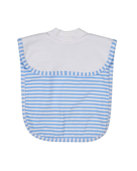 Reversible Bib w/Fish On White Side/Stripe Back Side - Florence Eiseman