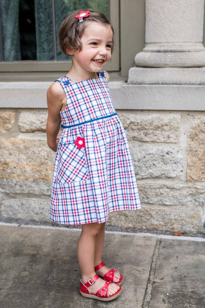 White, Red and Blue Plaid Dress