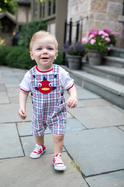 Plaid Shortall with Fish
