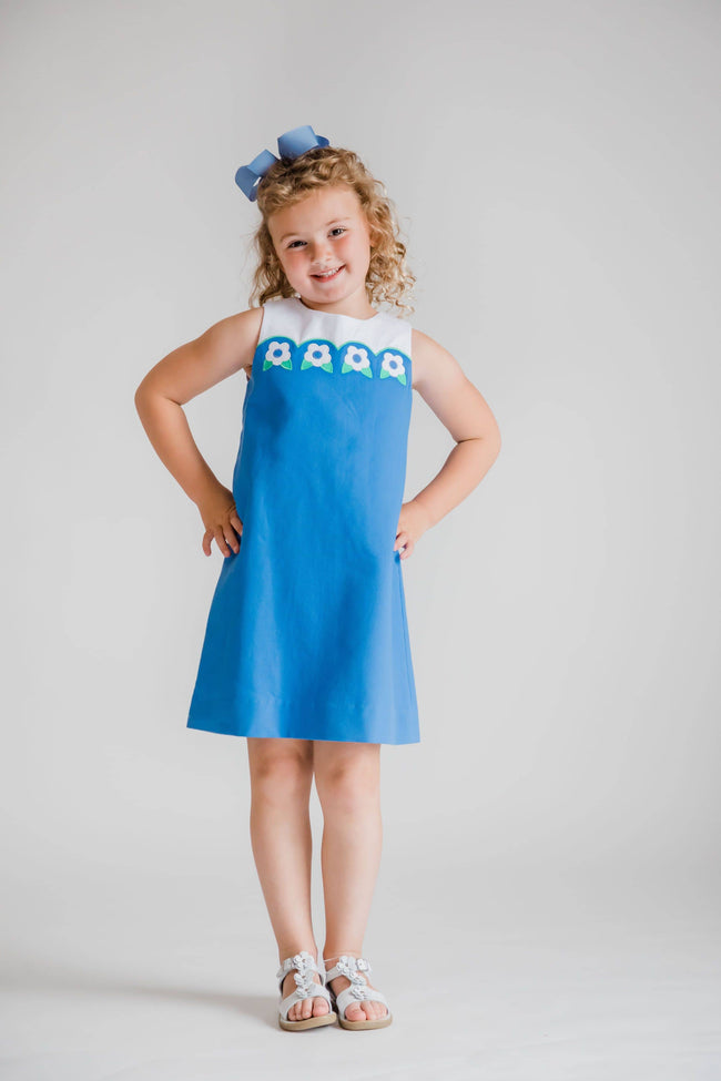 Blue Pique Dress with Scalloped Yoke and Flowers