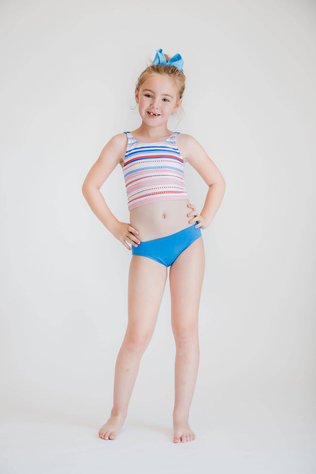 Multi Stripe Tankini Top, Blue Bottoms