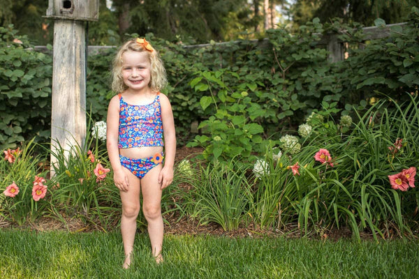 Royal/Orange Floral Tankini
