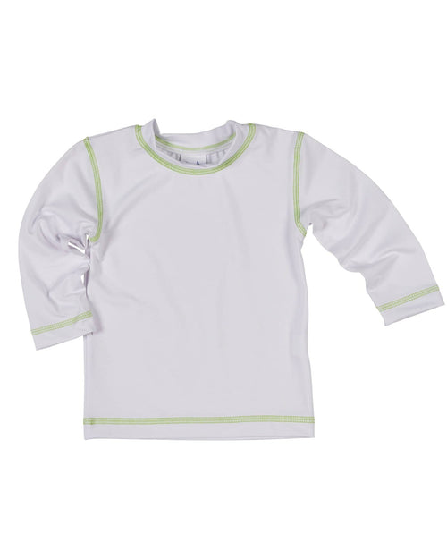 White Rash Guard with Lime Stitching