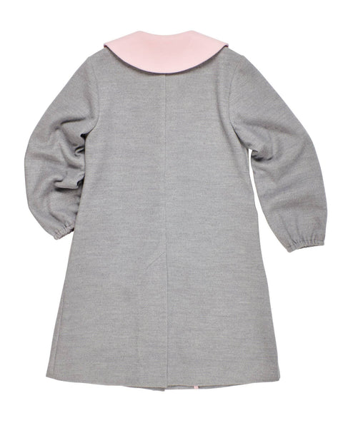Gray Unlined Coat with Pink Collar