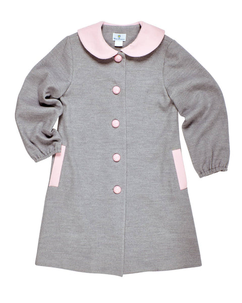 Gray Unlined Coat with Pink Collar - Florence Eiseman