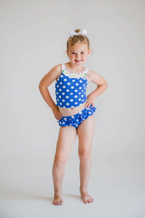 Blue and White Waffle Dot Tankini - Florence Eiseman