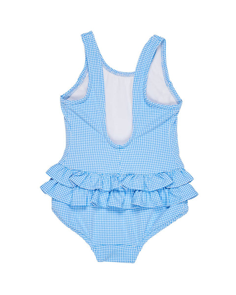 Blue and White Check Swimsuit with Ruffle Hips - Florence Eiseman