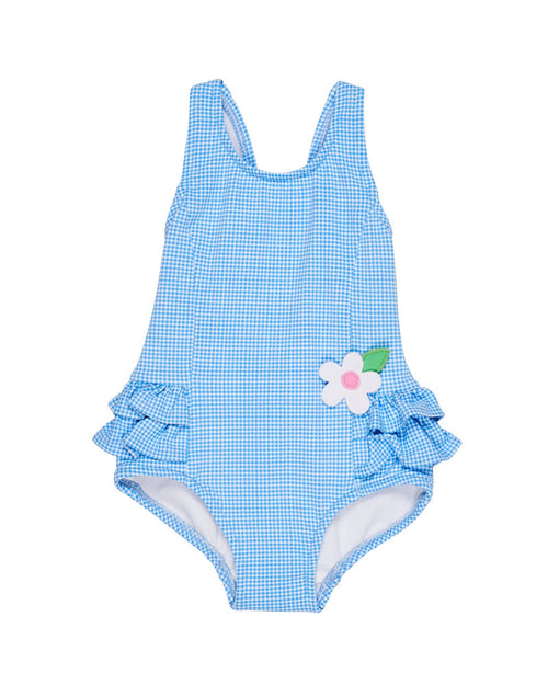 Blue and White Check Swimsuit with Ruffle Hips