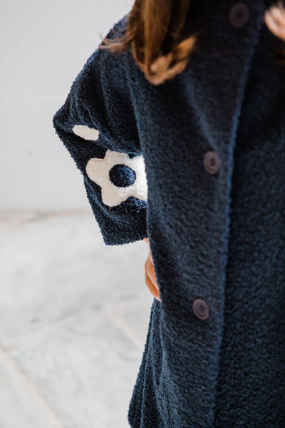 Navy Stretch Boucle Coat with Flower Details - Florence Eiseman