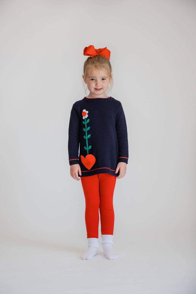 Navy Sweater Tunic w/Heart Pocket/Red Leggings