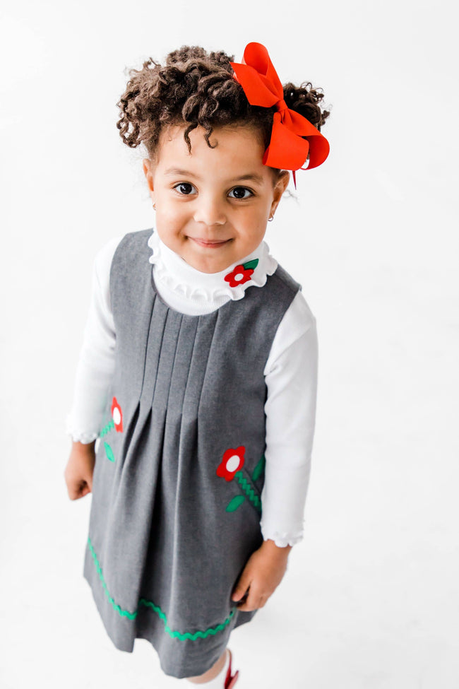 Girls Rib Turtleneck with Flower