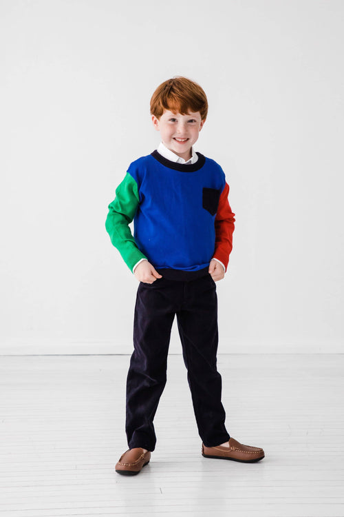 Boys Color Block Sweater - Florence Eiseman
