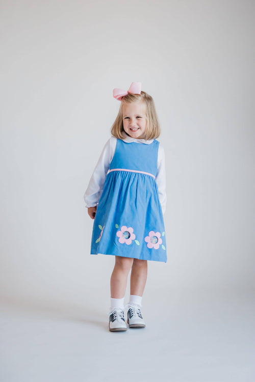 Blue Corduroy Jumper with Applique Cutout Flowers - Florence Eiseman