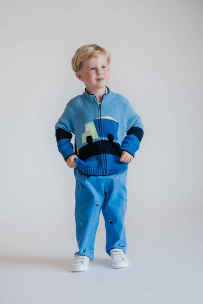 Medium Blue and Navy Dump Truck Sweater