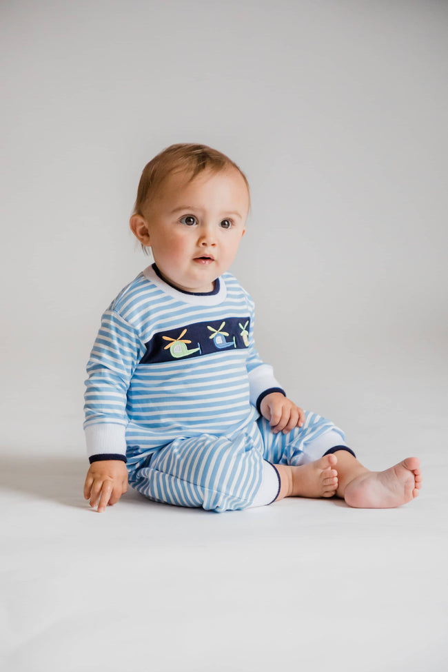 Blue Stripe Knit Helicopter Longall