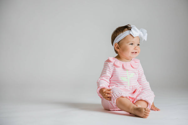 Pink Stripe Knit Longall with Flower Petal Neck