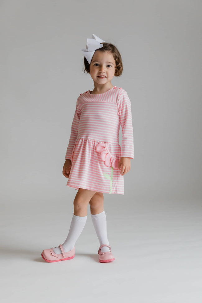 Pink Stripe Knit Dress with Flower Petal Pockets