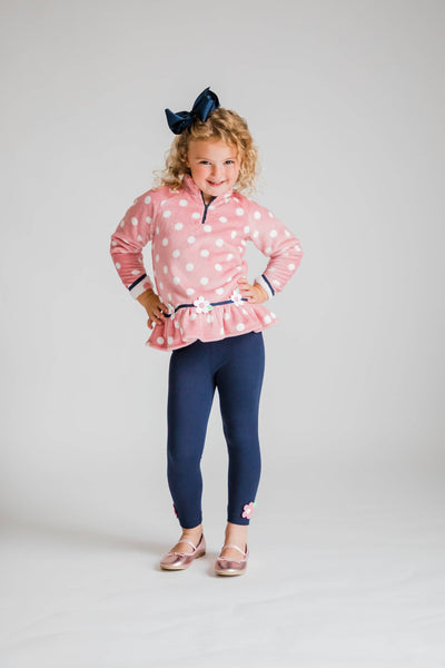 Pink Dot Plush Fleece Top with Flowers