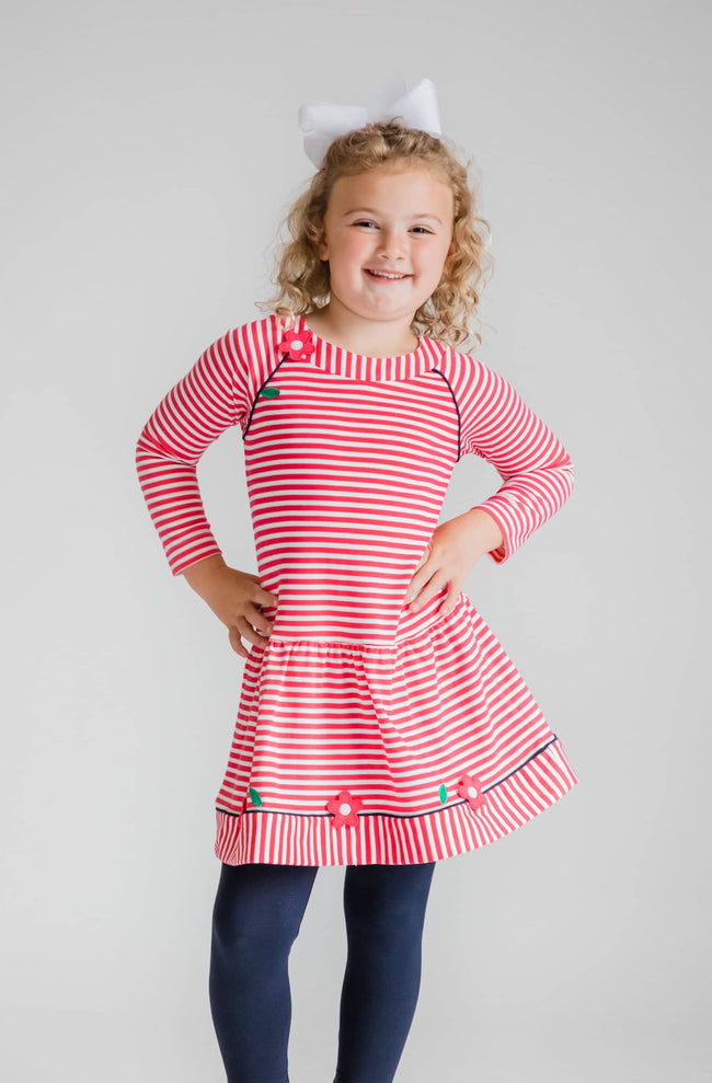 Bright Pink Stripe Knit Dress with Applique Flowers