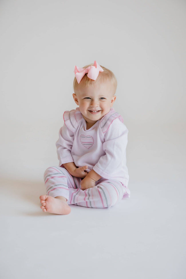 Pink Sweater Knit Set with Applique Heart