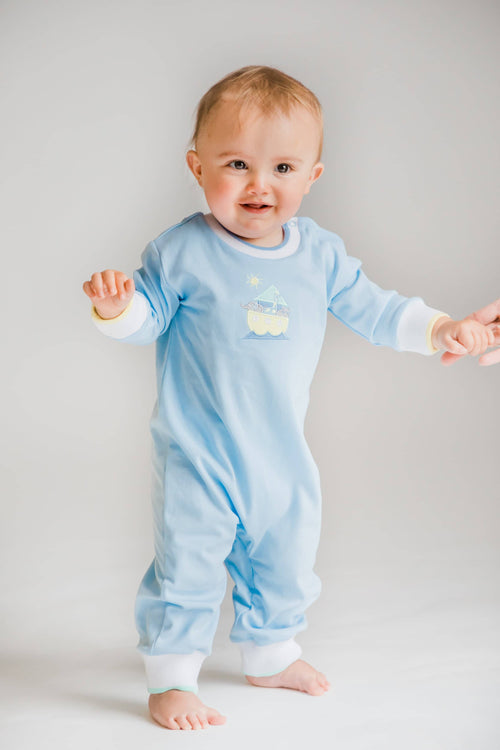 Light Blue Knit Longall with Applique Animals in Ark - Florence Eiseman