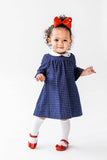 Navy Tattersall Dress for Baby and Toddler Girl