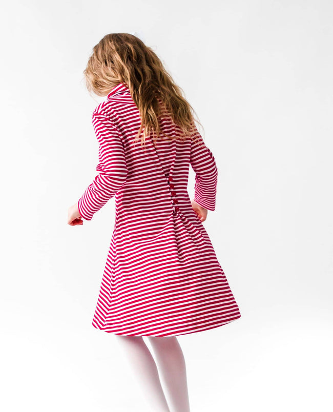 Stripe Knit Dress with Cowl Neck