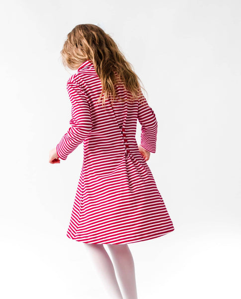 Stripe Knit Dress with Cowl Neck - Florence Eiseman
