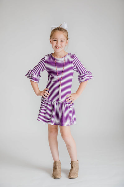 Stripe Knit Dress with Double Ruffle Sleeves - Florence Eiseman
