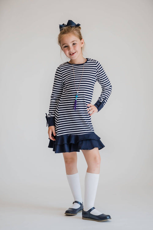 Stripe Knit Dress w/Double Ruffle Hem - Florence Eiseman