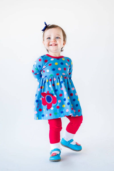 Blue Circle Print Dress with Flower Pocket