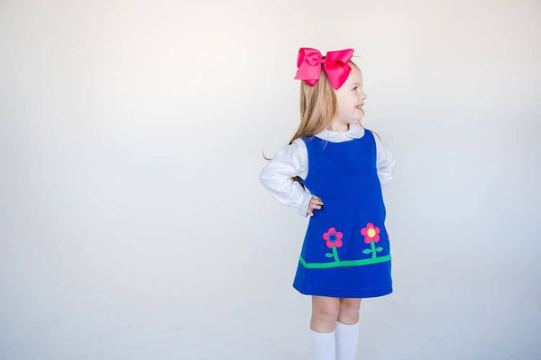 Royal French Terry Jumper with Flower Appliques