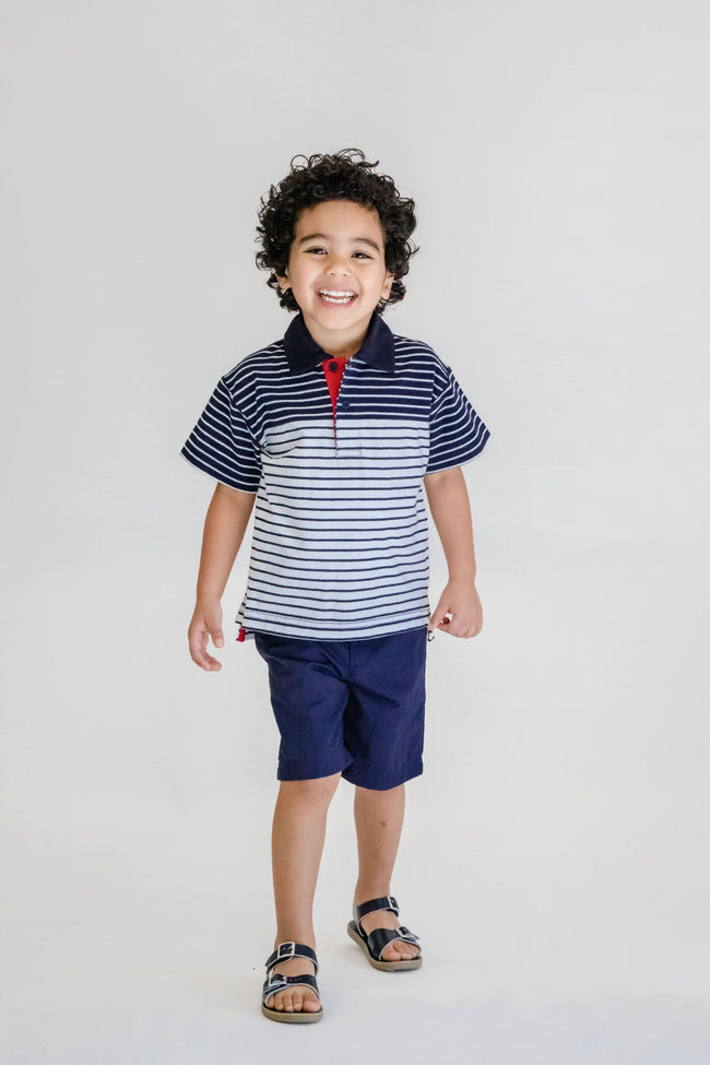 Boys White/Navy Stripe Polo Shirt - Florence Eiseman