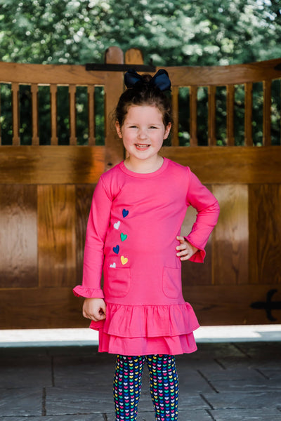 Fuchsia Dress with Heart Appliques