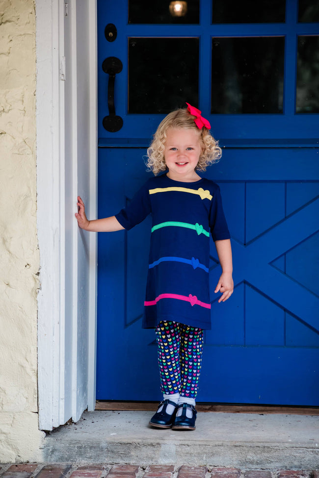 Navy Dress with Hearts