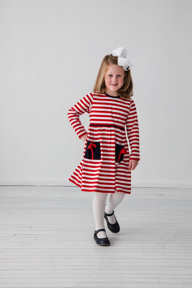 Red Stripe Dress with Present Pockets