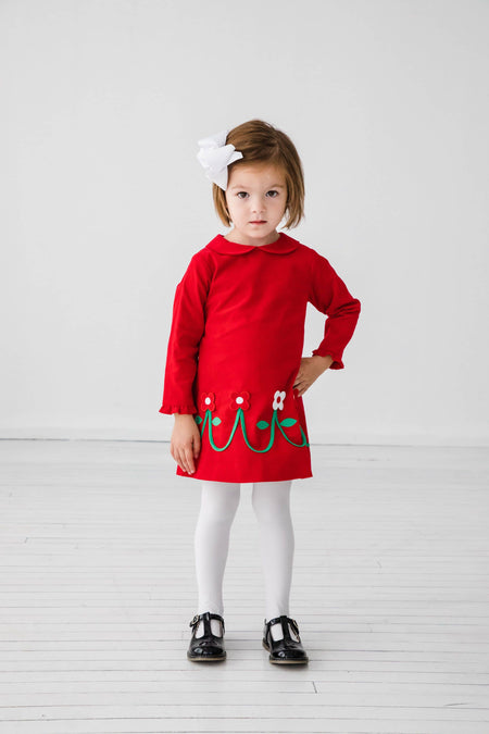 Red Fleece Top with Llama and Navy Leggings