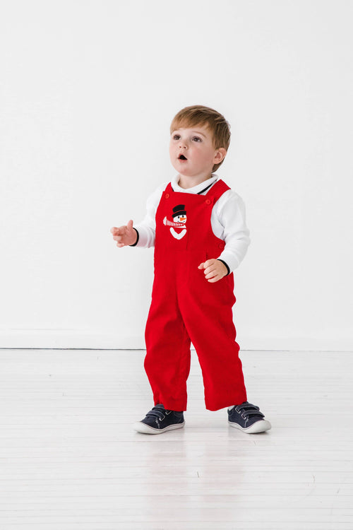 Red Corduroy Overall with Snowman - Florence Eiseman