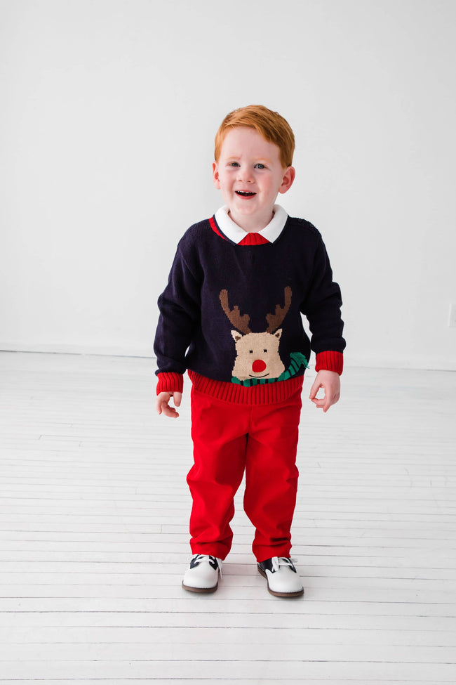 Navy and Red Reindeer Sweater